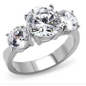 STAINLESS STEEL Past Present Future AAA CZ Ring